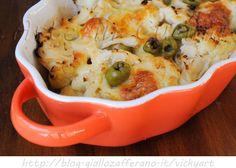 Cavolfiore con mozzarella al forno, ricetta facile, contorno, piatto unico facile da preparare, ricetta con verdure al forno, cavolfiore con olive, ricette con cavolfiore