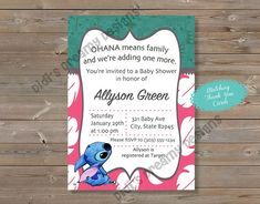 Lilo and Stitch Baby Shower Invitation, Diaper Raffle Card, Thank You Card, Birthday Invitation, disney, digital file or printed invites