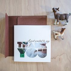 An up close GOAT, Thank you Card. Square with Handmade Envelope!