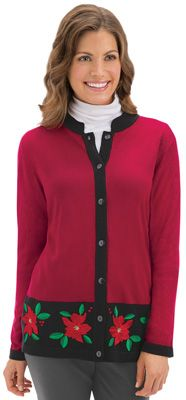 Embroidered Poinsettia Button Front Cardigan