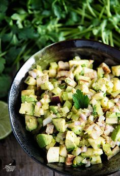 Avocado, Apple And Chicken Salad. Chicken salad, minus the mayo – great for anyone with an egg sensitivity or following a Paleo autoimmune protocol.