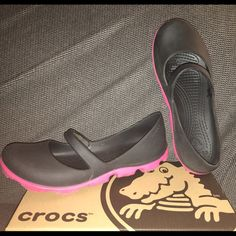 Women's Mary Jane Crocs - Size 8 (black/pink) Worn one full day at amusement park & put back in original box. These are adorable & comfortable - I don't regret buying them! Just don't wear them often enough to keep. crocs Shoes