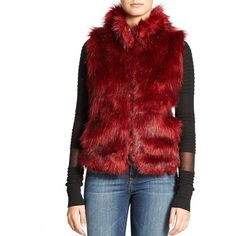 Buffalo David Bitton Aleesa Quilted Faux Fur Vest ($74) ❤ liked on Polyvore featuring outerwear, vests, merlot, red vest, sleeveless waistcoat, vest waistcoat, faux fur vest and sleeveless vest
