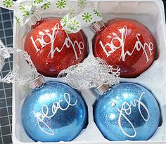 Homemade Glitter ornaments: Use clear glass ornaments, Pledge floor wax, and glitter--