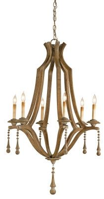 Simplicity Chandelier, the wood is given a Washed Wood finish