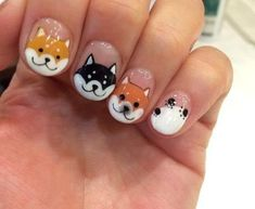 2018 is the year of dog. Chinese New Year is a little late this year, right after valentine's day, which means you have enough time to book an appointment with some of the more popular nail salons. Nevertheless, we've rounded up a selection of designs you Dog Nail Art, Animal Nail Art, Dog Nails, New Year's Nails, Cute Nail Art, Animal Nail Designs, Cool Nail Designs, Nails For Kids, Girls Nails