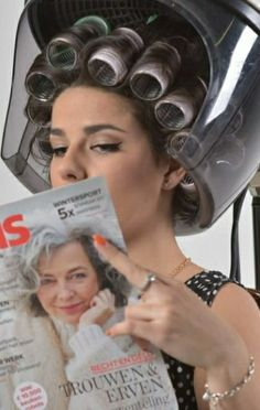 Updo Styles, Hair Styles, Salon Dryers, Sleep In Hair Rollers, Perm Rods, Look At The Sky, Roller Set, Curlers, Vintage Glamour