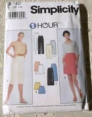 Simplicity 8740 Misses One hour Skirt, pants, Capris, Shorts size Large - Sewing Patterns