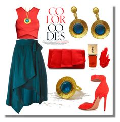 """""""Red and Teal - Evangelos Jewellery"""" by evanangel ❤ liked on Polyvore featuring Isabel Marant, H&M, Givenchy, La Regale, Yves Saint Laurent, Maybelline and modern"""