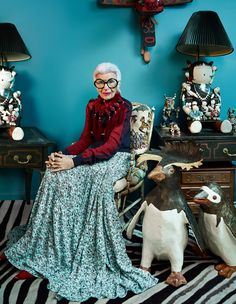 Style icon Iris Apfel puts her personal stamp on Damian Foxe's selection of the season's standout pieces. Photography by Luis Monteiro. Chloé silk knit tracksuit top, £1,125, and crepe de chine skirt, £2,115. Céline leather shoes, £820. Pebble London wool and cotton Pom Poms necklace, £165. Glasses, Apfel's own