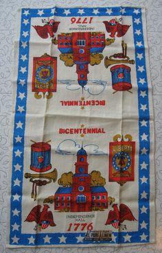 Parisian Prints American Bicentennial linen tea towel.