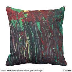 Floral Art Cotton Throw Pillow