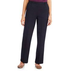 Donnkenny Women's Slimming Panel Pull-on Pant Available in Regular and Petite, Size: 4, Blue