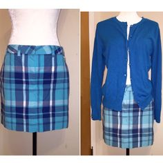 Tommy Hilfiger blue plaid skirt Great skirt for the summer!   Brand: Tommy Hilfiger Size: 6  Colors: shades of blue plaid. Skirt length/width:  15.5 x 15.5 Tommy Hilfiger Skirts Mini