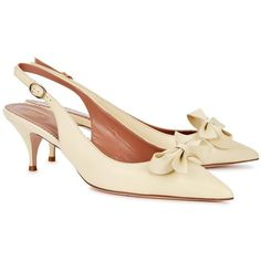 Womens Pointed-Toe Pumps RED Valentino Cream Bow-embellished Leather... (1,450 PEN) ❤ liked on Polyvore featuring shoes, pumps, leather pointed toe pumps, kitten heel pumps, kitten heel slingback pumps, slingback pumps and leather shoes