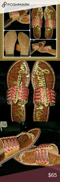 """SAM EDELMAN GIBSON BOHO GYPSY toering STUD SANDALS ? just 1 of 3 pairs of designer SAM EDELMAN equisite sandals I'll be posting 2day out of my OWN PERSONAL COLLECTION!...these are the """"GIBSON"""" all TRIBAL BOHO embroidered & GOLD STUDDED toe ring sandals...LADIES SIZE-8 and in VERY AWESOME pre-luved condition with incredibly minimal signs of wear (I think I wore them 2 or 3 times Sam Edelman Shoes Sandals"""