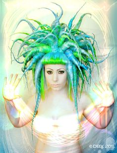 Violet White by DarkstrEam - with Dbxhair (Synthetic Dreads Angled Cyber Wig).