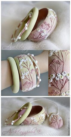 So sweet...so beautiful ~ Handmade Polymer Clay + Japanese Beads Bracelet & Pendant by Evgeny Alexandrov - Live Master Ru