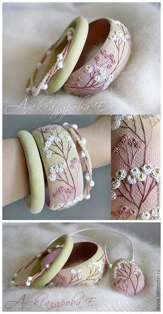 So sweet...so beautiful ~ Handmade Polymer Clay + Japanese Beads Bracelet & Pendant by Евгения Александрова - Live Master Ru