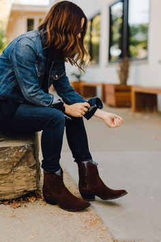 double denim + western boots...