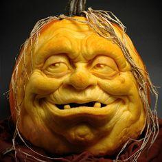 "One more-- the 2nd pumpkin ""sculpture"" I ever made, Cousin Eerie!  Carved from a pumpkin I got at Ralph's I believe.  #halloween #happyhalloween #pumpkincarving #jackolantern #pumpkins #eerie #creepy #monsters"