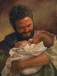 """St Joseph, foster-father of Jesus. It's sobering and encouraging to remember that in a culture that reduces so much to biology, St. Joseph never had his """"own"""" kids. Lds Art, Bible Art, Catholic Art, Religious Art, Religious Symbols, Roman Catholic, Arte Lds, Images Instagram, Jesus Stories"""