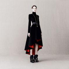 Alexander McQueen Wave Ruffle Dress Coat.  Perfect Vampire wear!