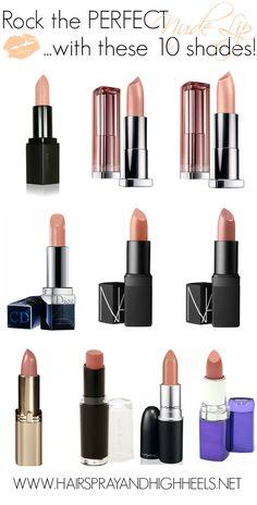 Top 10 Best Nude Lipstick Shades via www.hairsprayandhighheels.com