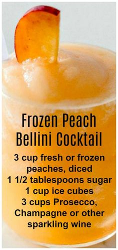 Peach Bellini Cocktail ~ Light, refreshing and super easy to make! Frozen Peach Bellini Cocktail ~ Light, refreshing and super easy to make!Frozen Peach Bellini Cocktail ~ Light, refreshing and super easy to make! Refreshing Drinks, Fun Drinks, Yummy Drinks, Mixed Drinks, Beverages, Brunch Drinks, Party Drinks, Bellini Cocktail, Cocktail Drinks