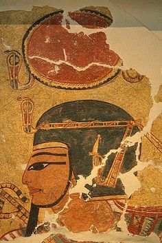 Amenhotep I with the ureus in his forehead. Painting from the tomb of Inerkha in Deir el-Medina. Altes Museum of Berlin