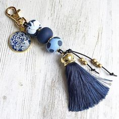 Blue Tassel Keychain, Tassel Bag Accessory, Blue Polymer Keychain, Blue and Gold Keychain, keychain gift handmade by rubybluejewels Tassel Keychain, Diy Keychain, Diy Tassel, Tassels, Tassel Purse, Bead Crafts, Jewelry Crafts, Beaded Jewelry, Handmade Jewelry