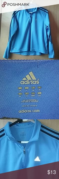 Blue Adidas Pullover Blue, pullover with zipper, Adidas, climalite, size L, three black stripes on the sleeves, worn a couple of times, no tears or rips, light pullover, comment down for any questions. Adidas Jackets & Coats