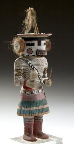 Marao Katsina, 2005, American Indian Auction / Mar 10-11 hand-carved with a tripod headdress similar to that worn by women in the Marao ceremony. - Cowan's Auctions: The Midwest's Most Trusted Auction House / Antiques / Fine Art / Art Appraisals