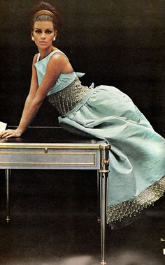 Something to wear if you've got writers's block: A sky-blue faille gown by Oscar de la Renta for Elizabeth Arden. The hem and bodice are encrusted with embroidered glitter and paired with pale blue slippers. Photo from Vogue, October Vintage Couture, Vintage Glam, Vintage Ads, 1960s Fashion, Vintage Fashion, Vintage Clothing, Blue Slippers, Turquoise Color, Style Icons