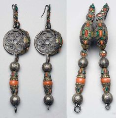 Mongolia   Pair of earrings; silver with coral and turquoise   ca. 1935 or earlier