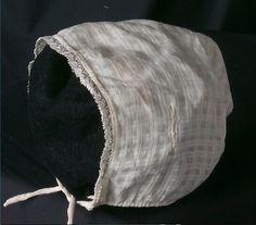 baby's bonnet, white checked cotton dimity, 1860