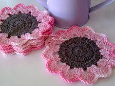 Tecendo Artes em Crochet: Porta Copos Flowers com Barbante e Duna!