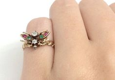Unique Multi-stone Butterfly Antique Gold Ring by Appelblom