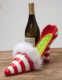 Candy Cane High Heel Shoe Christmas Bottle Holder 29 99 Wine Rack Cabinet Racks