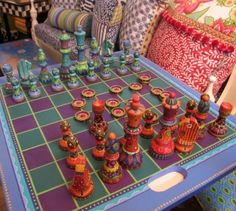 Hand painted chess set at Art on a Whim. Very cool.