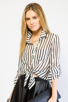 CHIC STRIPED BUTTON UP TOP $10.99
