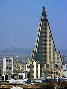 """""""The Worst Building in the History of Mankind"""" -Esquire, 2008    aka Ryugyong Hotel in North Korea, vacant for two decades, never completed.  Fifth tallest building in the world."""