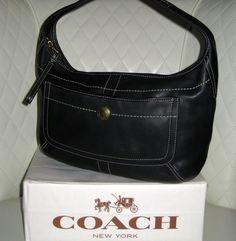 I'm auctioning '8 COACH Black Leather Ergo Hobo Bag ' on #tophatter