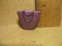 Tiny PURPLE TOTE handbag floral purse - French Feve Feves Porcelain Figurines Doll House Miniatures Figures CC25 by ValueARTifacts on Etsy