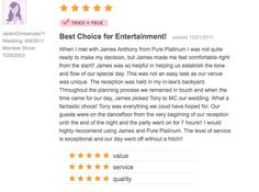 Pure Platinum Party - One of our many 5 star reviews from the knot.com! Check us out at www.pureplatinumparty.com #reviews #testimonials #wedding #theknot #wedding #bride #groom #weddingdress #DJ #bridalgown #weddingphotos #weddingphotography #entertainment #photography #celebrate #5stars