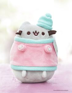 Adorable Pusheen is super cute wearing pink sweater