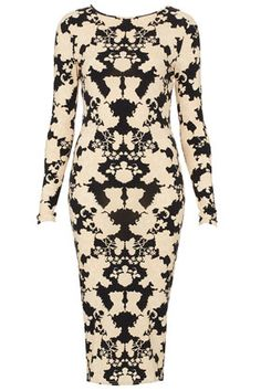 Today's Must-have: Topshop's Lace Placement Midi Bodycon Dress Party Dresses Uk, Lace Print, Office Fashion, New Dress, Fashion Beauty, Topshop, Bodycon Dress, Style Inspiration, My Style