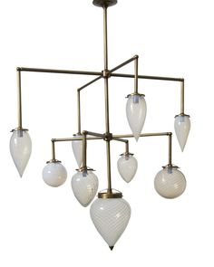 Brilliant 9 Globe Fixture Vintage Opalescent Glass  Contemporary, Transitional, Glass, Metal, Chandelier by Michelle James