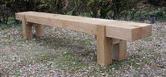 Rustic Oak 2 beam Long Garden Bench