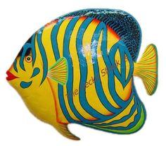 Regal Angel Fish Metal Wall Art  Large 48cm Tropical Decor Beach House Sea ... Recycled metal wall art. Large Wall Art, Metal Wall Art, Painted Mailboxes, Angel Fish, Tropical Decor, Wall Sculptures, Recycling, Beach House, Rocks